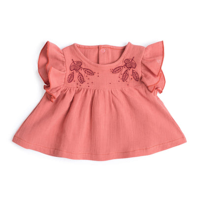 Moulin Roty | Camicetta Blouse Betty con Balze Rosa Antico Bimba