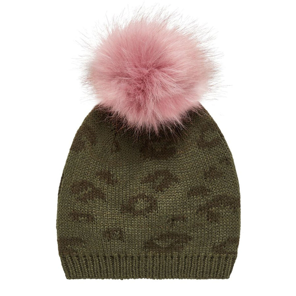 Cappello con Pom Pom in Misto Lana Verde Bambina | Name It