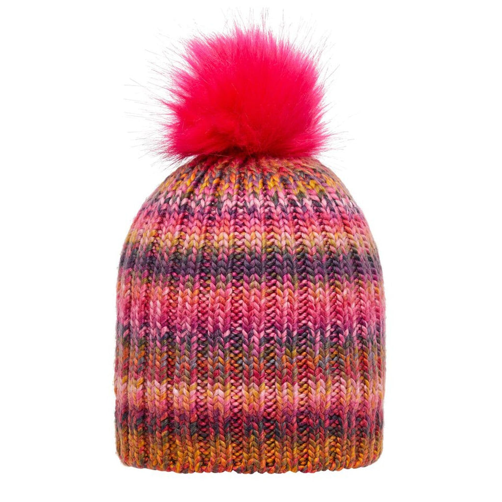 Cappello con PomPom e Pile all'Interno Multi Colore (1-7 Anni) Bambina
