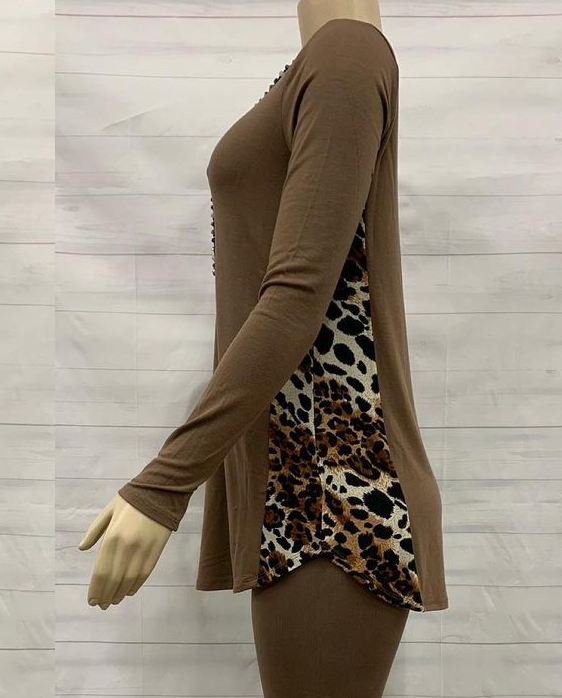 Side leopard top