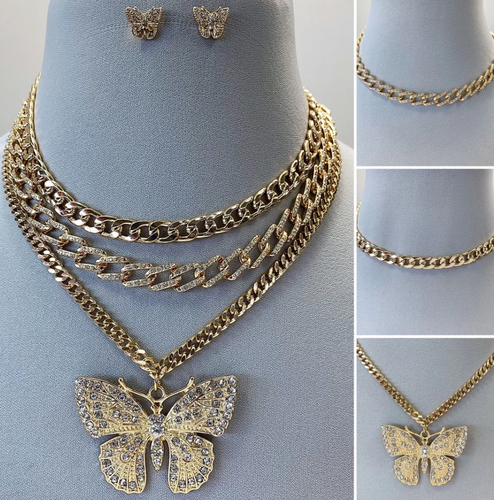 3 layered butterfly necklace set