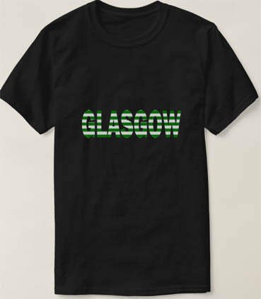 Glasgow in Green and White T Shirt