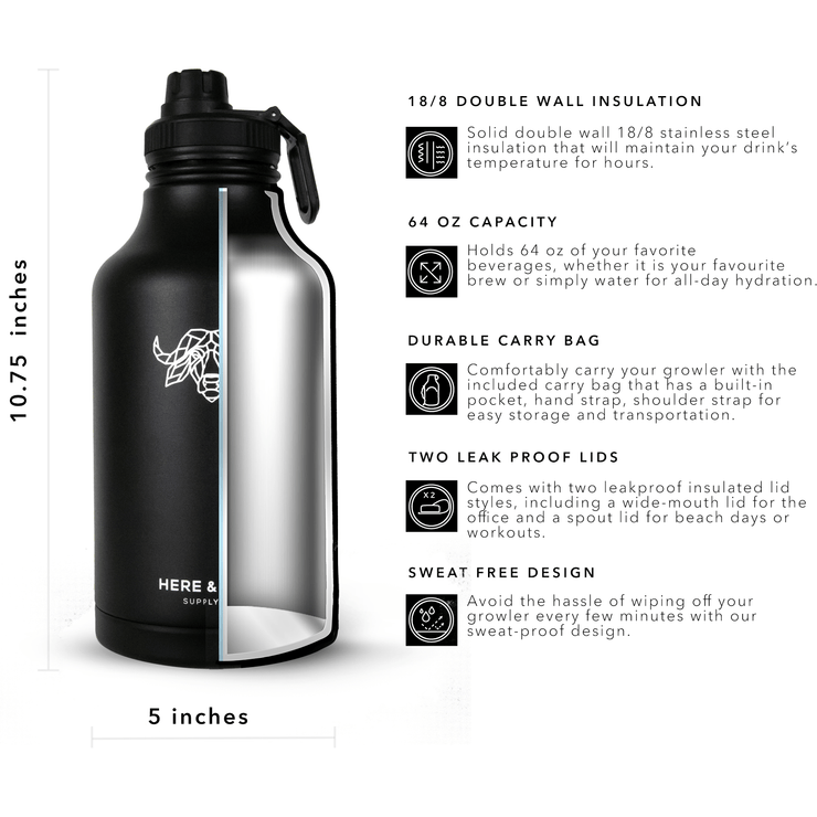 Fortitude 64 oz Insulated Growler Set