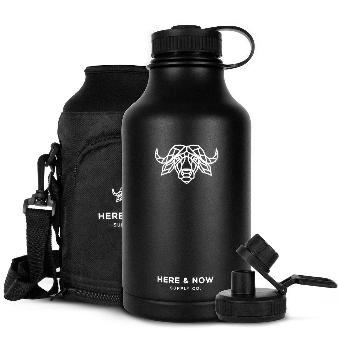 Fortitude - 64 oz Insulated Growler with Carry Bag and Sports Spout Insulated Drinkware Here & Now Supply Co. Black