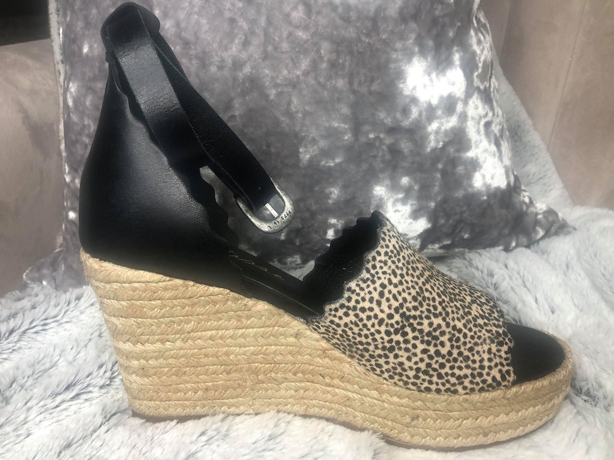 Roma Cow Hair Espadrille Wedge
