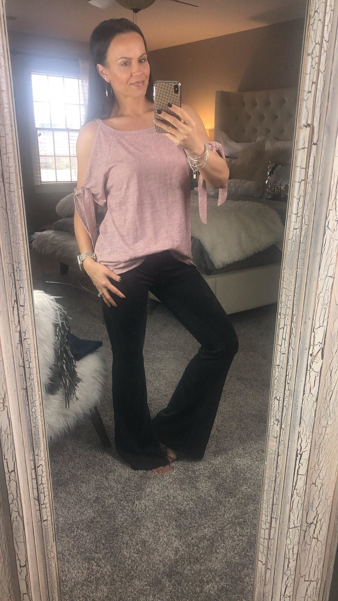 Suede Bell Bottom Pants