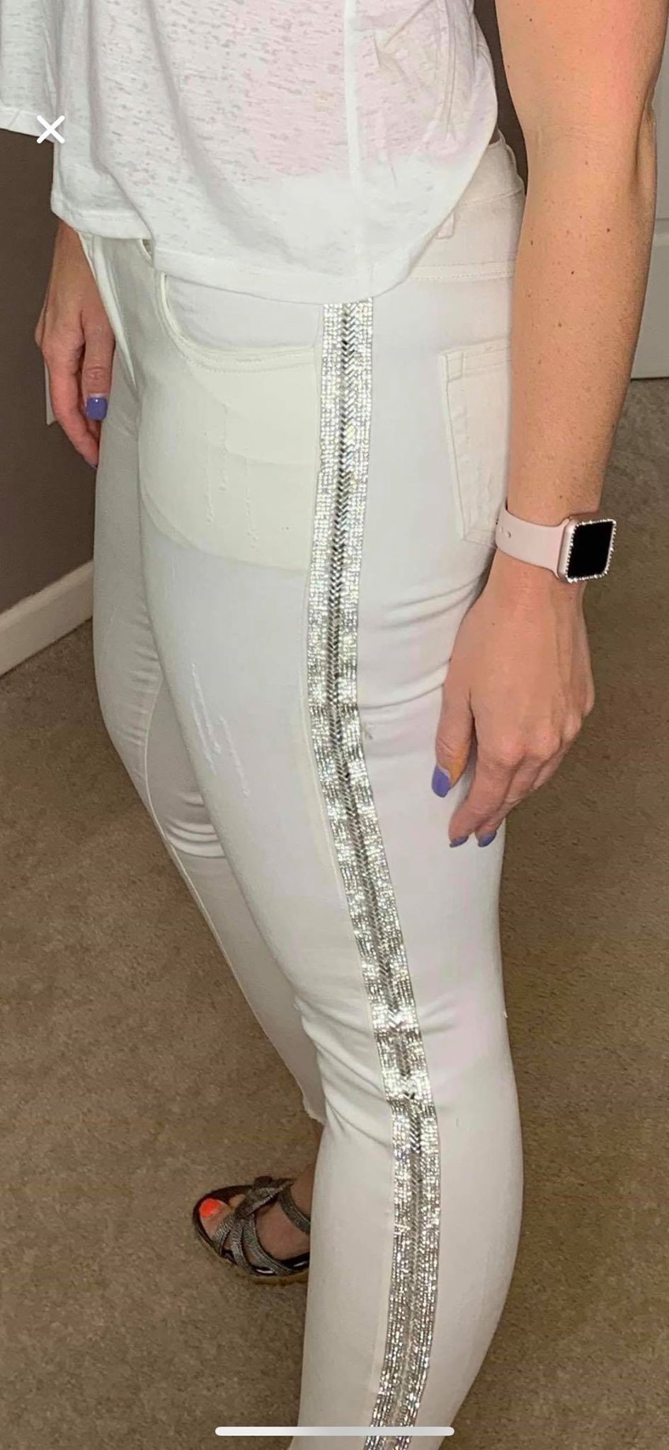 Head Turner Blingy White Jeans
