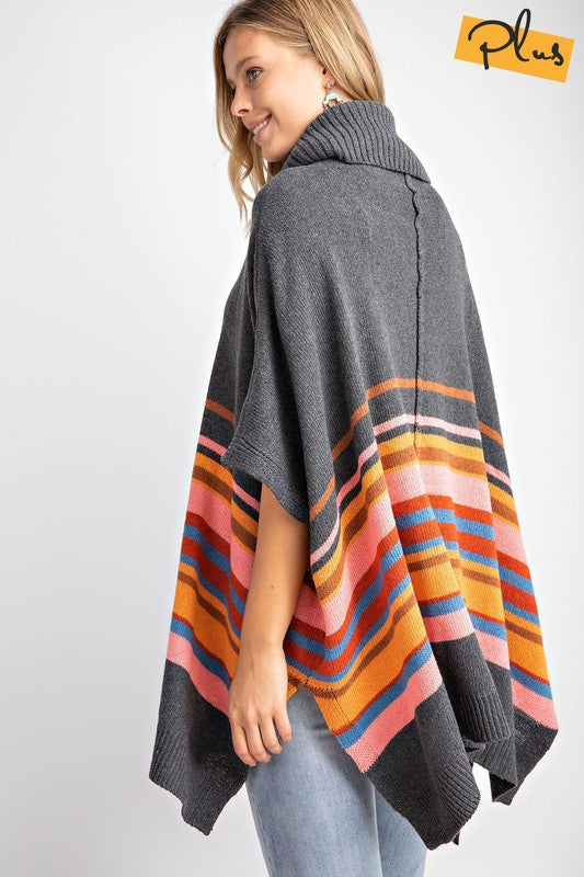 Kassidy Striped Turtleneck Poncho
