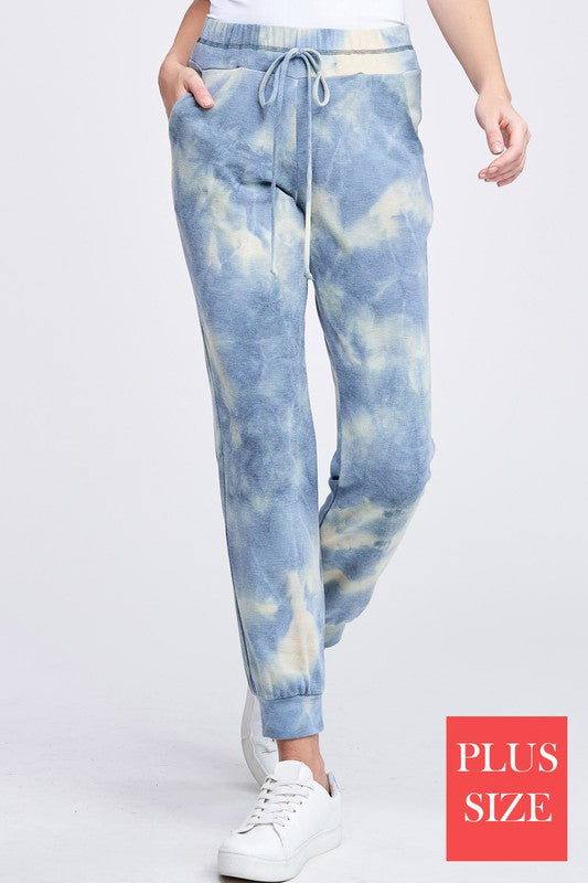 Swan Dive Pocketed Tie Dye Knit Joggers