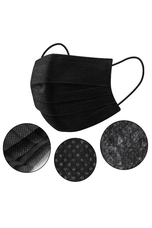 Black 3 Layer Disposable Mask (2 for $5)
