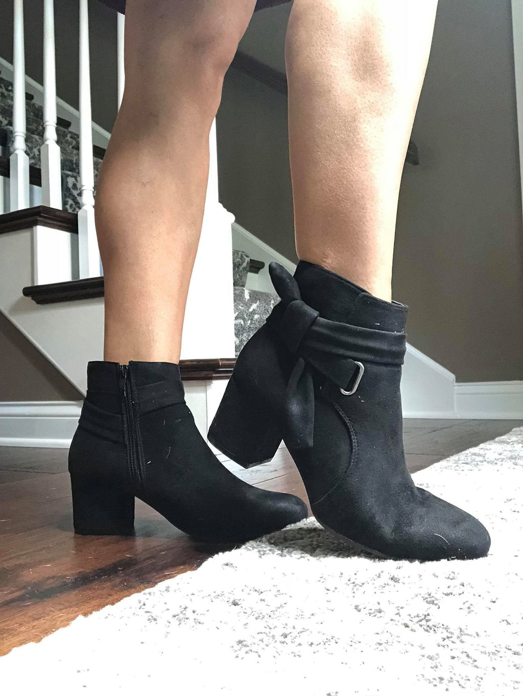 Black Ribbon Tie Booties