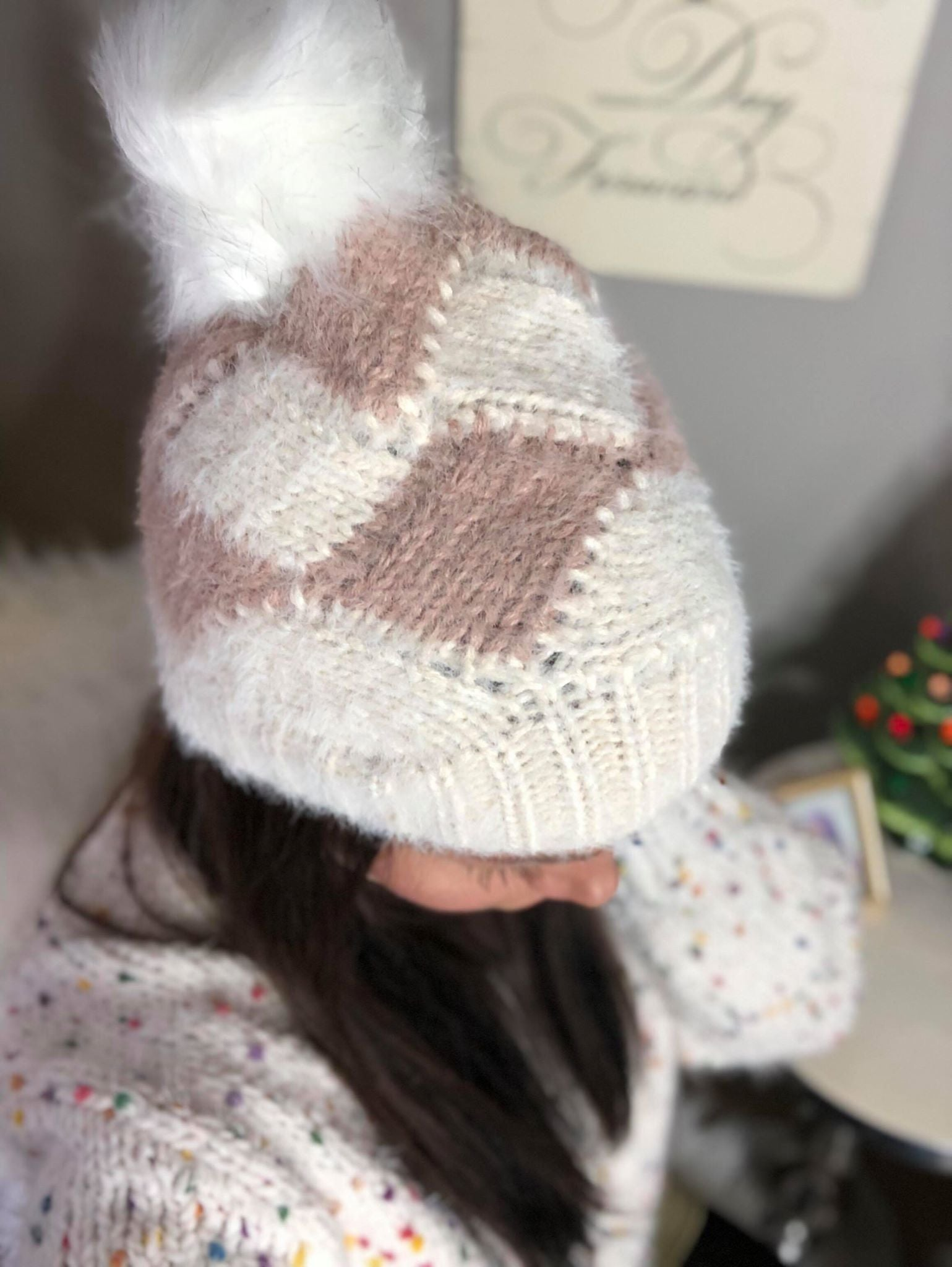 Twisted Sweater PomPom Beanie
