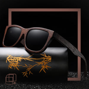 Rectangular sunglasses made of bamboo AnderSnow