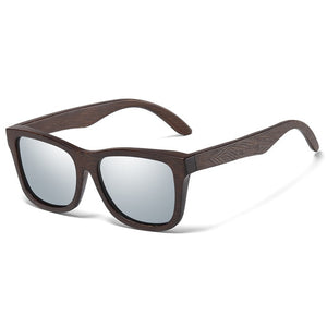 Rectangular sunglasses made of bamboo silver