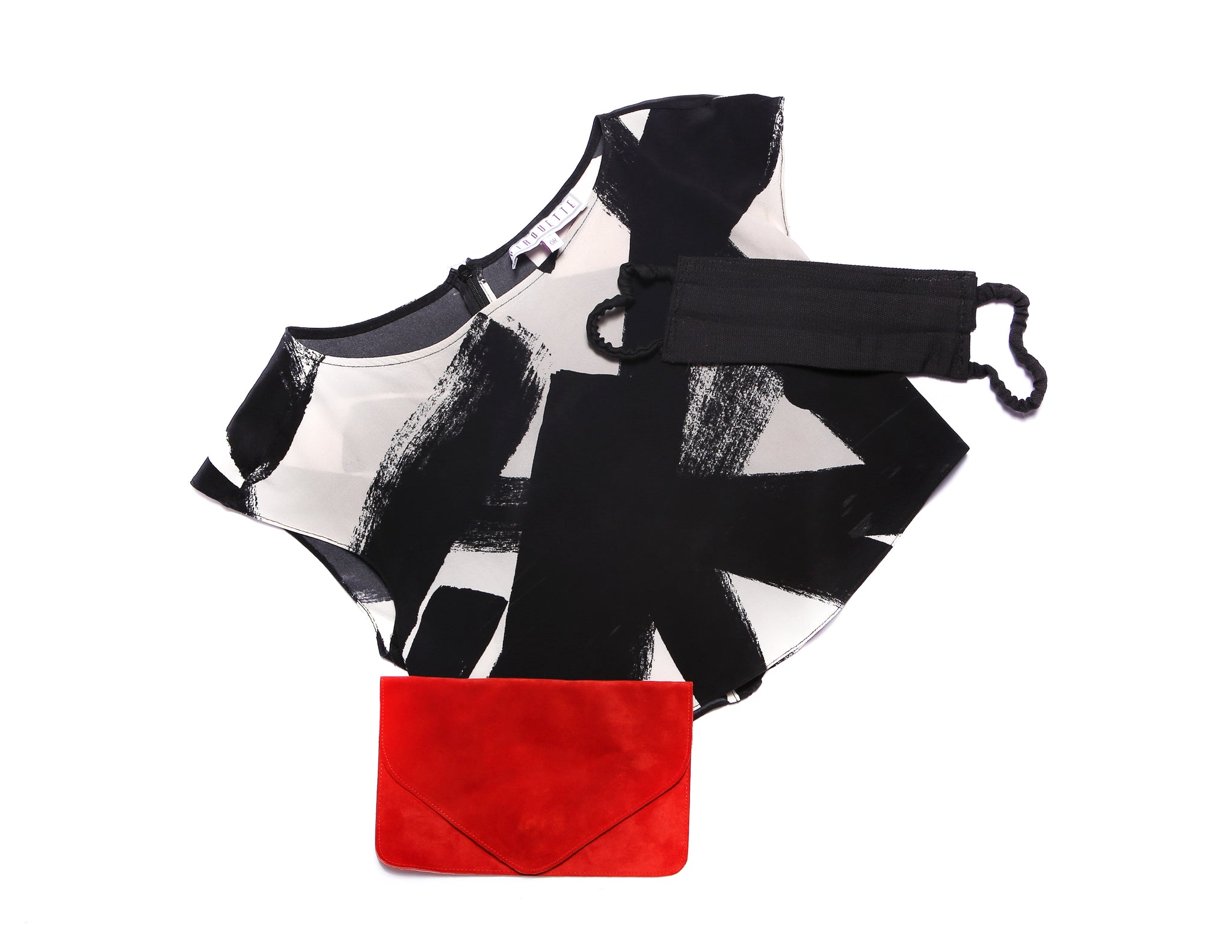 Soho Silk Top + Cherry Red Nadiyah Clutch + Pitch Black Mask Set
