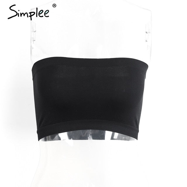 2da3c463ab5 Simplee Elastic tube top Soft Strapless crop top sll-match Seamless bandeau  tops 2017 summer