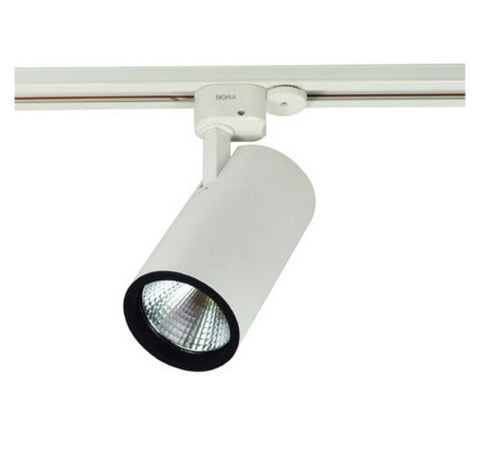 Nora Lighting NTE-855 2200lm 26W Jason Round LED Track Fixture 60° Flood 3500K 80CRI,120V- BuyRite Electric