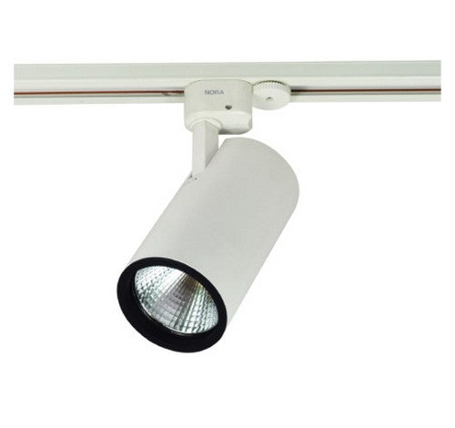 Nora Lighting NTE-855 2200lm 26W Jason Round LED Track Fixture 40° Narrow Flood 80CRI,120V- BuyRite Electric