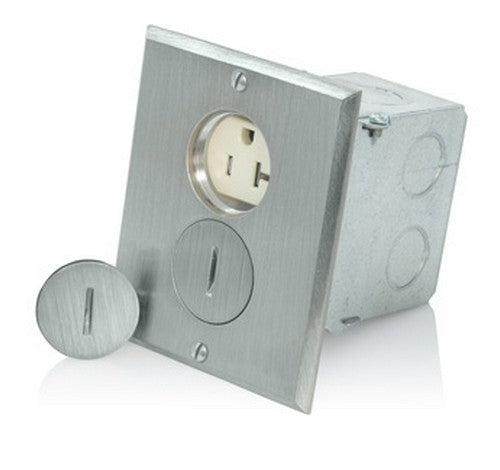 Leviton 25349-TFN Nickel Finish Tamper-Resistant Gang Duplex Receptacle Floor Box 20A / 125 V - BuyRite Electric