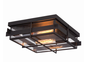 Eurofase Lighting 28055-013 Muller 2 Light 14 inch Outdoor Flush Mount Bronze Finish