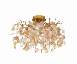 Eurofase Lighting 29056-019 Campobasso 5 Light 21 inch Antique Flush Mount Ceiling Light Gold Finish
