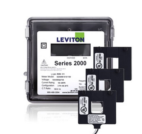 Leviton 2O480-12W Series 2000 3P/4W 1200A Outdoor kWh Meter Kit w/3 Split Core CTs 277 ~ 480V