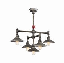 Eurofase Lighting 30030-015 Zinco 5 Light 30 inch Chandelier Ceiling Light Aged Silver Finish