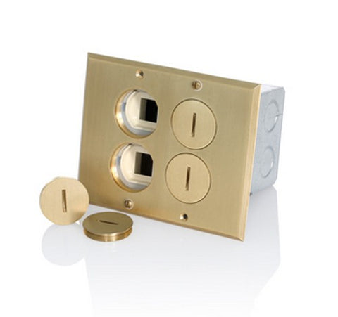 Leviton 35349-TLB Brass-Finish 2-Gang Low Voltage Floor Box Tamper-Resistant Receptacle 20A / 125 V - BuyRite Electric