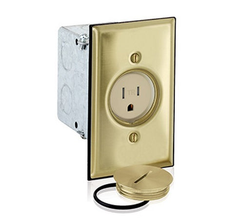 Leviton 5349-TFB Gang Single Receptacle Floor Box, Tamper-Resistant Brass Finish 20A / 125 VAC - BuyRite Electric