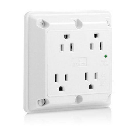 Leviton 5480 4-in-1 Surge Protective Quadruplex Receptacle Outlet, Heavy-Duty Hospital Grade 125V AC WH - BuyRite Electric