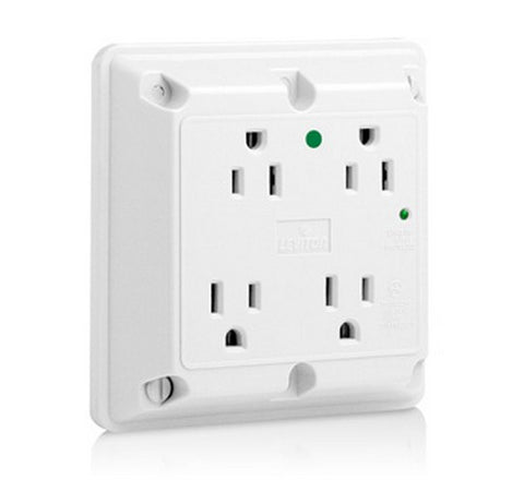Leviton 8490 4-in-1 Surge Protective Quadruplex Receptacle Outlet, Heavy-Duty Hospital Grade 125V AC WH- BuyRite Electric