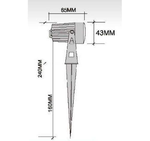 "ABBA Lighting 5W CD43 Cast Aluminum Spot Light With 20"" wire & PVC ground spike 12V AC / DC"