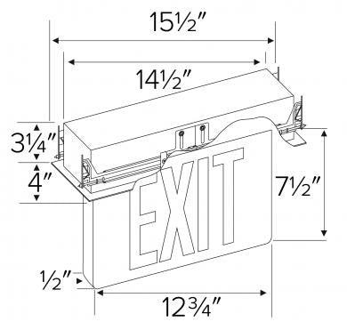 ELCO Lighting EDGREC1 Recessed LED Edge Lit Exit Sign Letters, Single Face | BuyRite Electric