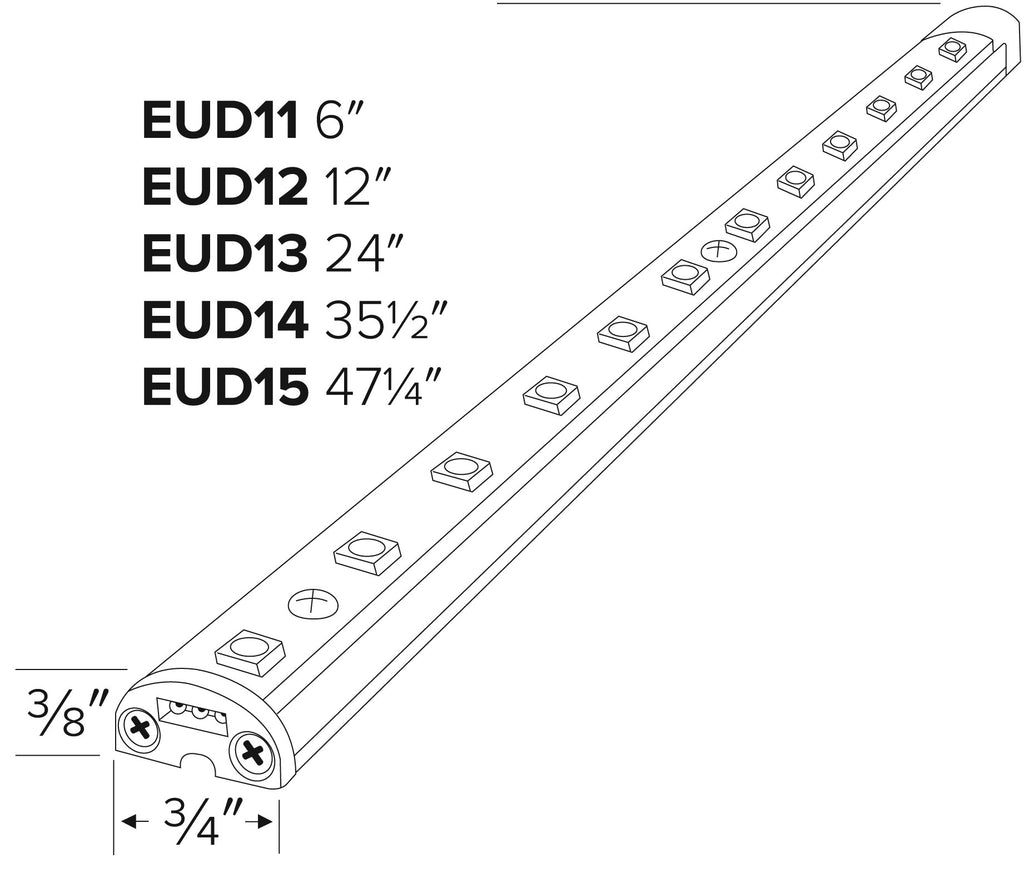 ELCO Lighting EUD11CW LED Undercabinet Lightbars 6 Inch 1.6W 4000K 24V Aluminum Finish