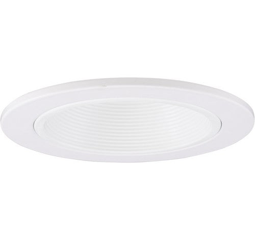 "ELCO Lighting EL1493DW 4"" Adjustable Phenolic Step Baffle with Diecast Trim Ring White"