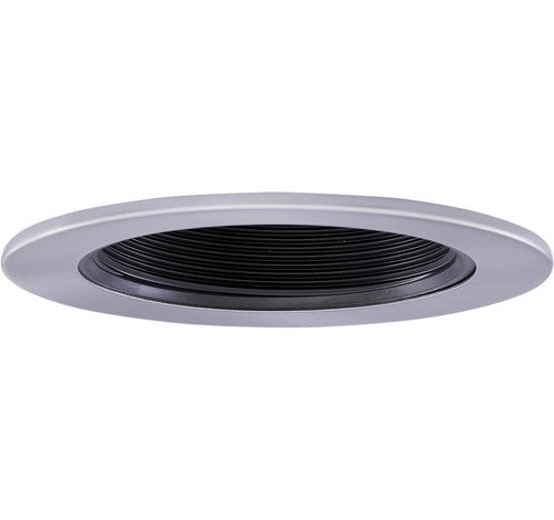 "ELCO Lighting EL1494BN 4"" Adjustable Phenolic Deep Step Baffle Trim Black with Nickel Ring"