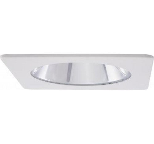 "ELCO Lighting EL2411W 4"" Square Shower Trim with Clear Lens White"