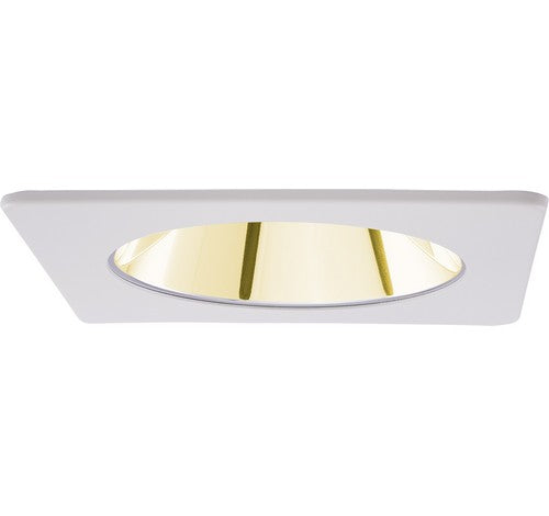 "ELCO Lighting EL2421G 4"" Square Specular Reflector Trim Gold with White Ring"