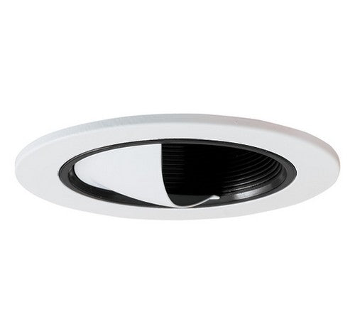 "ELCO Lighting EL2695B 3"" Adjustable Wall Wash Scoop with Baffle Trim Black with White Ring"
