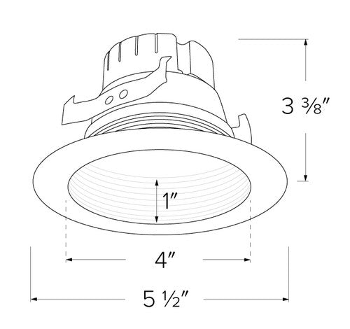 ELCO Lighting EL410CT5W 12W 4 Inch Five-Color Temperature Switch LED Baffle Inserts White Finish