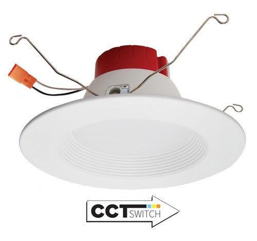 ELCO Lighting EL610CT5W 5 Inch or 6 Inch Five-Color Temperature Switch LED Baffle Inserts White Finish 850 Lumens
