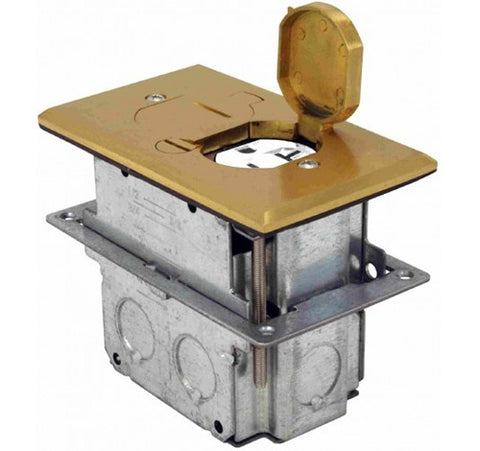 Brass Floor Box Flip Type With Duplex Receptacle  Adjustable Box 125V AC - BuyRite Electric