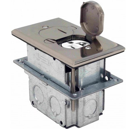 Orbit Floor Box Flip Type With Duplex Receptacle Adjustable Box 125V AC - BuyRite Electric