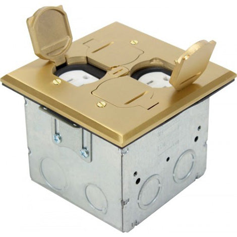 Orbit Brass Adjustable Floor Box Flip Type With 2 Duplex Receptacles with Square Cover 125V AC - BuyRite Electric