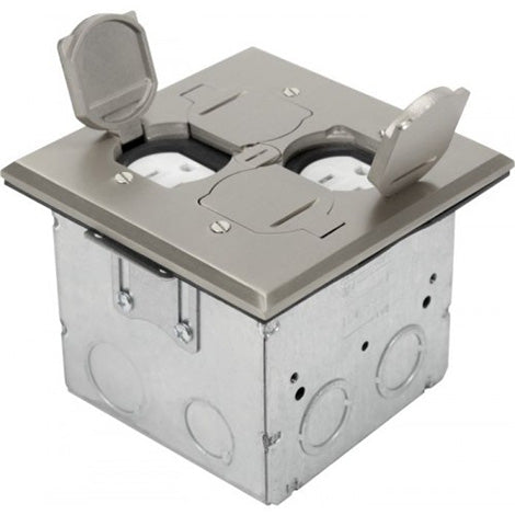 Orbit Stainless Steel Adjustable Floor Box Flip Type With 2 Duplex Receptacles 125V AC - BuyRite Electric