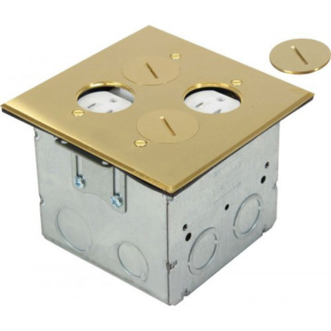 Orbit Brass Adjustable Floor Box Round Plug Type With 2 Duplex Receptacles 125V AC - BuyRite Electric