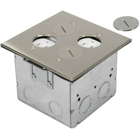 Orbit Stainless Steel Adjustable Floor Box Round Plug Type With 2 Duplex Receptacles 125V AC - BuyRite Electric
