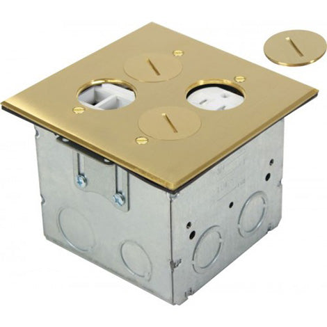 Orbit Brass Adjustable Floor Box Round Plug Type With 1 Duplex Receptacle & 4 Low-voltage 125V AC - BuyRite Electric