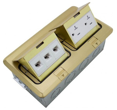 Orbit Brass Floor Box Pop-up With Duplex Rectalce & Low Voltage rj45 Tamper Resistant 125V AC - BuyRite Electric