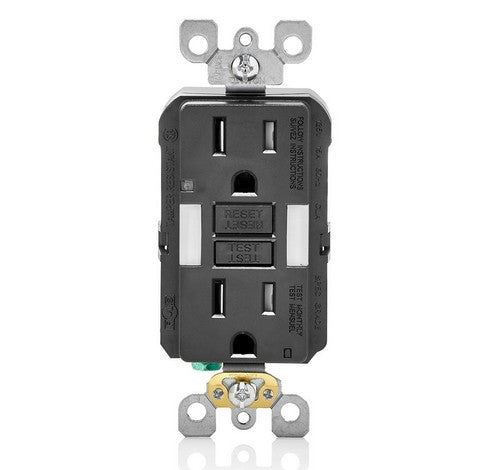 LEVITON GFNL1 Self-Test  Tamper Duplex Receptacle with  Guide Light 15A / 125 VAC BL - BuyRite Electric